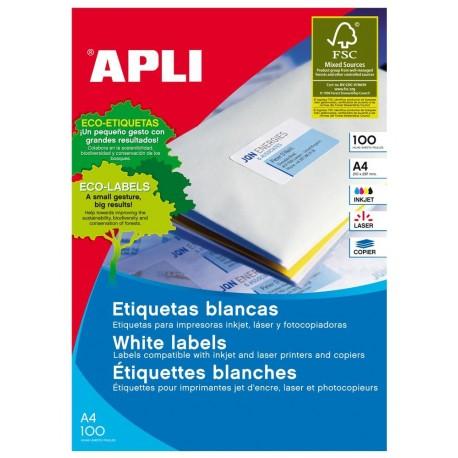 Apli caja 100 hojas etiquetas blancas adhesivas A4