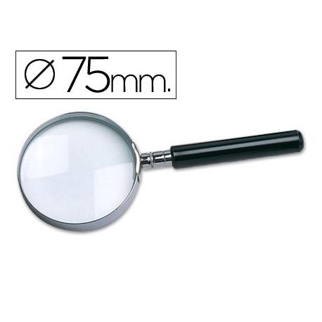 Lupa de cristal aro metálico mango negro