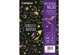 Campus block dibujo papel negro 50 hojas