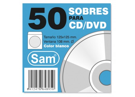 Sam pack de 50 sobres CD/DVD 90 gr.