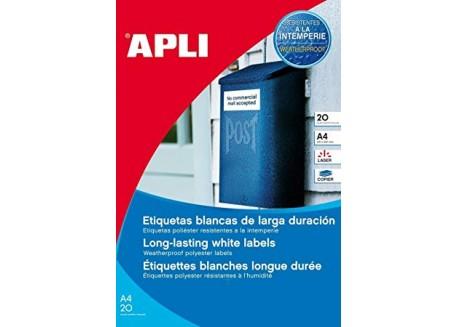 Apli caja 20 hojas etiquetas adhesivas de poliéster para exterior cantos rectos