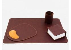 Escribania de sobremesa de polipiel marrón