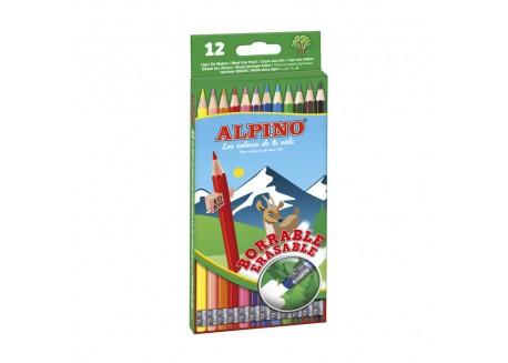 Alpino caja 12 lápices colores borrables con goma