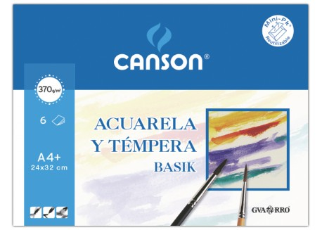 Canson mini pack 6 hojas acuarela y témpera